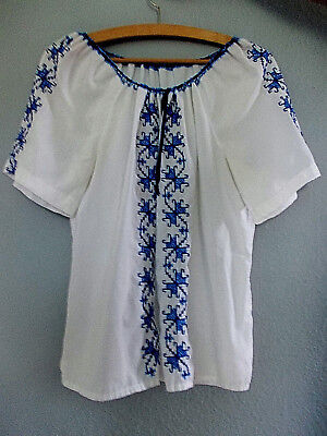 Vintage 70's Size 14 PSYCH Hippy Embroidered PEASANT Mexican Dress TOP 14