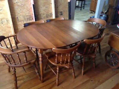 maple dining set, oval table, six chairs, two Hutches,Rocking Chair,Serving Cart