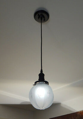 Etched and Cut Glass Cloth Cord Pendant Light Vintage Glass Shade New Fixture