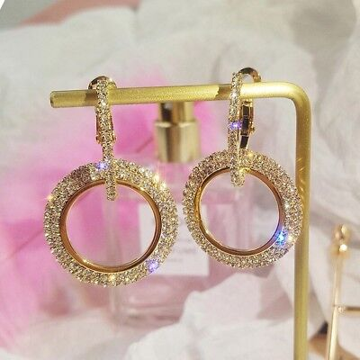 9K REAL ROSE GOLD FILLED CIRCLE ROUND HOOP EARRINGS MADE WITH AUSTRIAN CRYSTALS