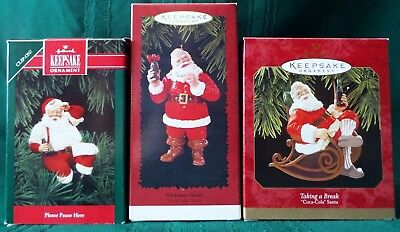 Hallmark 1992 1996 1997 SANTA CLAUS with COCA COLA Bottles Ornament Lot of 3