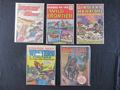 Lot of 5 old Western Comics - Rocky Lane #4, Heroes of the Wild Frontier #27,...