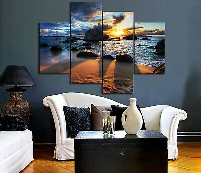Framed Split canvas prints seascape Sunset rock beach modern art wall ocean