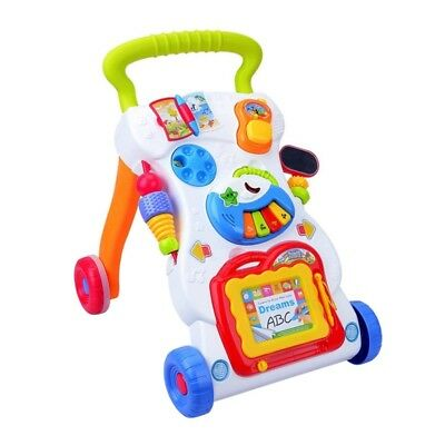 Baby Walker First Steps Activity Bouncer Musical Toy Push Along Ride On Round US