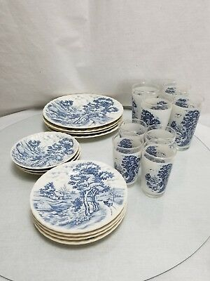 Vintage Nasco Pottery & Glass Blue River Pattern cups and Plate Made in Japan