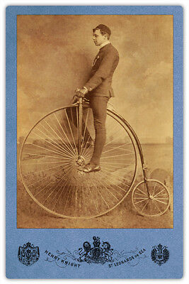 Penny Farthing Bicycle Henry Knight 4x6 Photograph Cabinet Card Vintage CDV RP