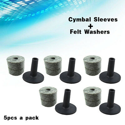5 Set Black Color Felt Washers + Plastic Flanged Cymbal Sleeves for Drum