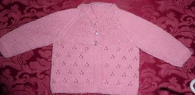 Jacket Rose Pink Hand Knitted New Born To 3 Months (81)