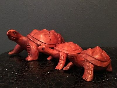 Wooden Hand Carved Tortoise Figurines (set Of 3) Products from Bali Indonesia