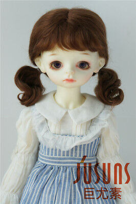 Jusuns 8-9'' 21-23cm Twin Curly Pony Mohair BJD Wigs 1/3 SD 4 Colors