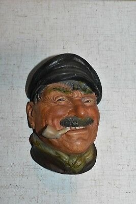 Vintage Bargee Pipe Cap Bossons England Chalkware Head Sculpture.
