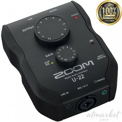 NEW ZOOM Handy Audio Interface U-22 Musical instrument Black genuine from JAPAN