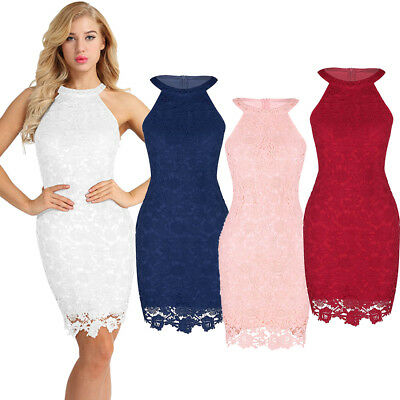 Sexy Women Lace Evening Cocktail Party Dress Bodycon Halter Midi Formal BallGown