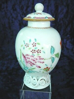 Antique Chinese Export Qing 18th C.Famille Rose Porcelain Tea Caddy with Lid.