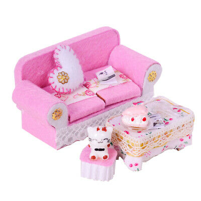 1/24 Dollhouse Miniature Room Furniture Wooden Sofa & End Table Set Pink