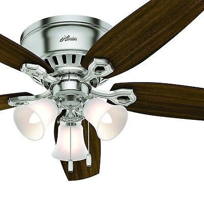 Hunter Fan 52 inch Brushed Nickel Ceiling Fan with Light Kit & Remote Control