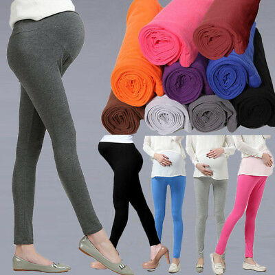 Pregnant WomenSolid High Waist Pants Over Bump Legging Maternity Trouser