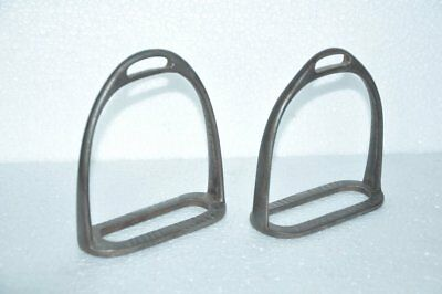 2 Pc Old Iron Handcrafted Unique Shape Victorian Horse Footrest / Stirrups