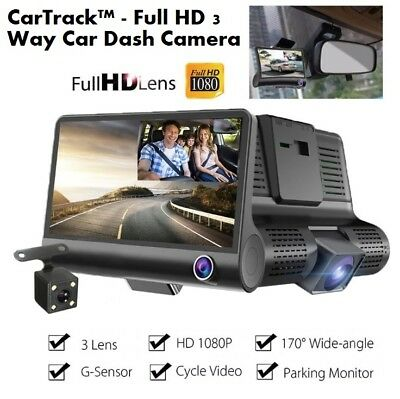CarTrack™ - Full HD 3 Way Car DVR Dash Camera - Front, Inside and Rear Views