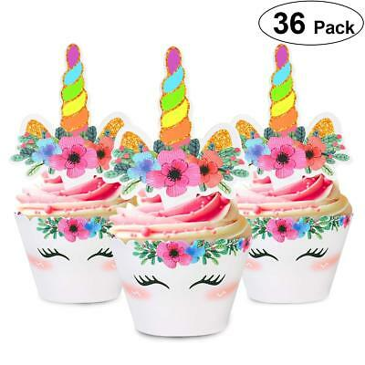 36pcs Unicorn Cupcake Toppers & Wrappers Double Sided Decoration Party Supplies