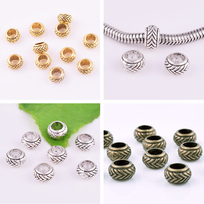 Gold-Silver-Bronze Big Hole Beads Charm Bracelets Diy Jewelry Findings Round 8mm