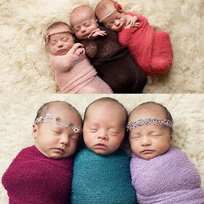 KF_ Newborn Baby Photography Photo Props Stretch Knit Swaddle Wrap Blanket Fas