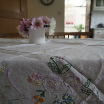 Large Pretty Vintage Hand Embroidered Linen Tablecloth Flower Basket Square