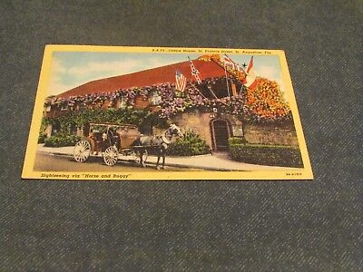 Postcard-Oldest House, St. Augustine, Fla.-White Border Era-Unposted