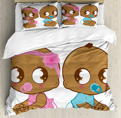 Kids Duvet Cover Set with Pillow Shams African American Baby Print