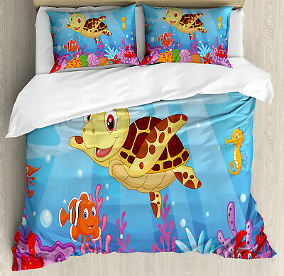 Kids Duvet Cover Set with Pillow Shams Cute Baby Turtle Fishes Print