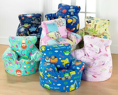 Kids 100% Cotton Fully Filled Character Bean Bag Chair Seat 2 Sizes In 9 Designs