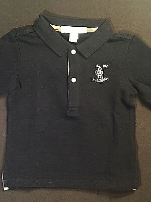 Burberry Infant Kids Baby Boy Navy Blue Polo Shirt! Size 12 Months
