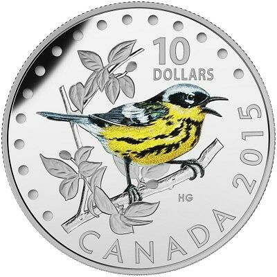 2015 $10 Colourful Songbirds of Canada The Magnolia Warbler Pure Silver Coin