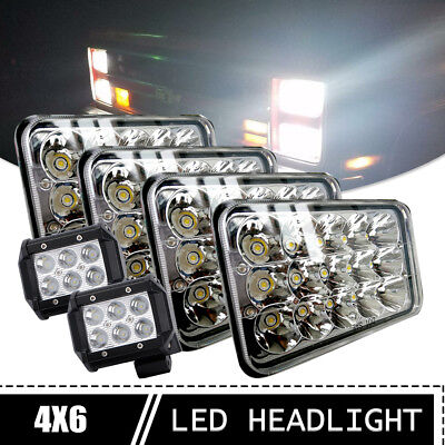 4SET 4X6'' Inch LED Headlight Hi/Lo Sealed Beam HID Bulbs For Peterbilt 357 378