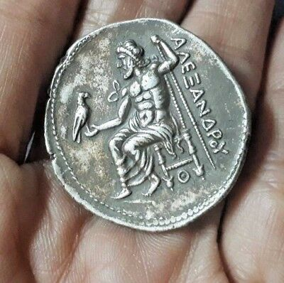 Antique Old King Alexander Holding Eagle Bird Sterling Silver COIN Collectible