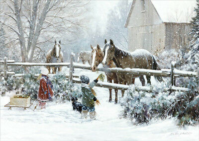 Boy and Girl Feeding Horses Box of 16 D.R. Laird Country Christmas Cards