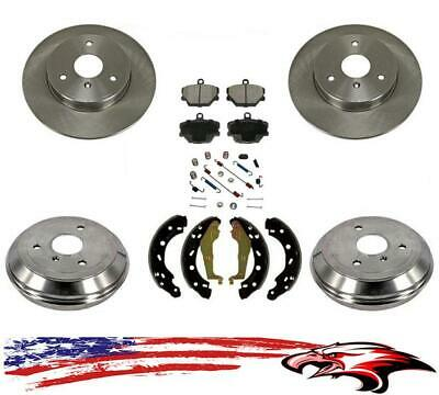 Front & Rear Rotors Drums Brake Pads Shoes Spring Kit for Smart Car ForTwo 05-15