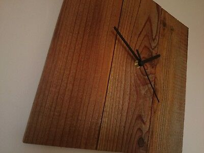 Rustic recycled square wooden wall clock with dark stain finish and black hands