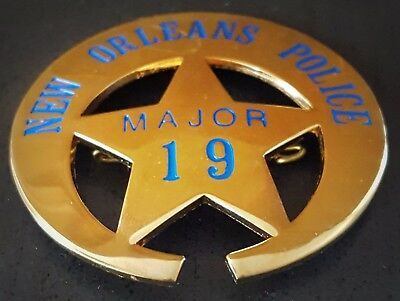 OBSOLETE 1889'S BADGE New Orleans police Major no.19 ** COLLECTOR'S BADGE ***