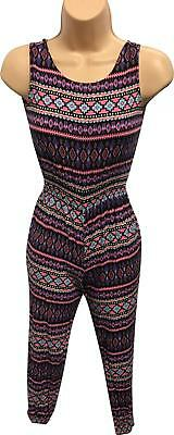 PRE-OWNED Girls YD Black Pattern Jumpsuit Size 9-10 Yrs JH323