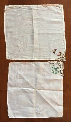 Beautiful, Antique Hankerchiefs, Set Of Two, Handmade, Lace & Needlepoint