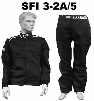 Fire Suit Sfi 3.2A/5 Black Xl Rjs Racing 2 Piece Elite 2 Layer Imsa Scca Arca