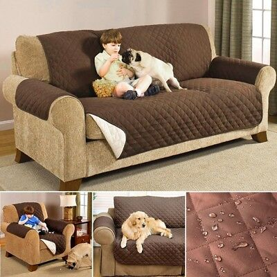 Reversible Quilted Waterproof 1/2/3 Sofa Cover Furniture Pet Dog Protector Throw