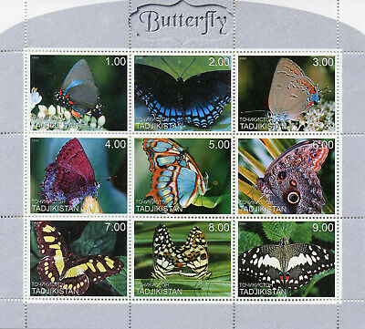 Tajikistan 1999 MNH Butterflies 9v M/S Insects Butterfly Stamps