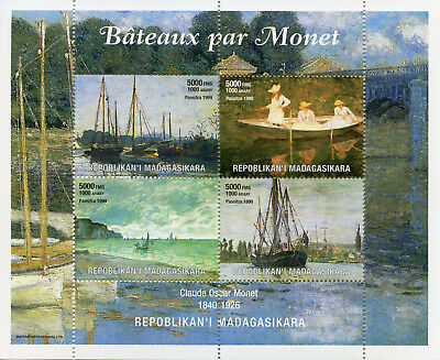 Madagascar 1999 MNH Claude Monet Boats 4v M/S Ships Paintings Art Stamps