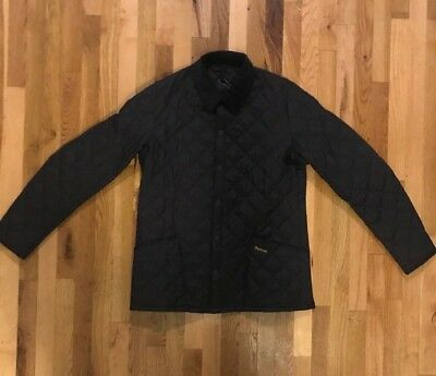 Barbour Heritage Liddesdale Quilted Corduroy Collar Jacket Navy Mens Large