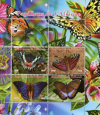 Djibouti 2015 MNH Butterflies of Africa 4v M/S Papillons Butterfly Stamps