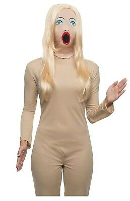 Adult Sexy Woman Blow Up Doll Funny Halloween Costume Mask Blonde Wig Accessory