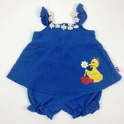 Vintage Sesame Street Big Bird Top Bloomers Outfit Set Blue Baby 12 Months