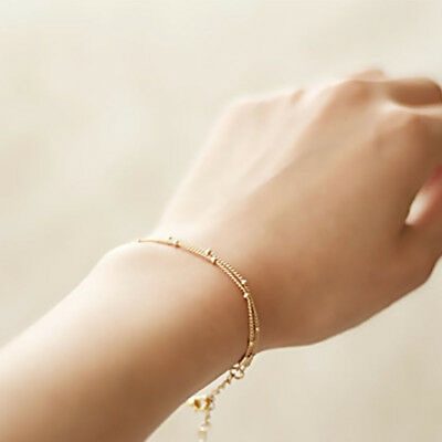 Women Gold Color Thin Multi Layer Bead Chain Ankle Bracelet Anklet Jewelry Z